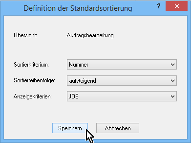 Definition-Standardsortierung